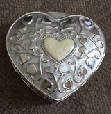 REDUCED Heart Shaped Silver Tone Jewelry Box in Aurora, Illinois